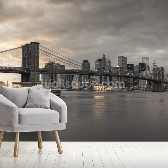 Brooklyn Bridge over East River wall mural room setting