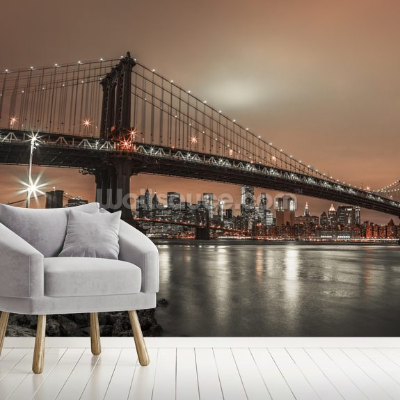 Manhattan and New York Skyline wallpaper mural room setting