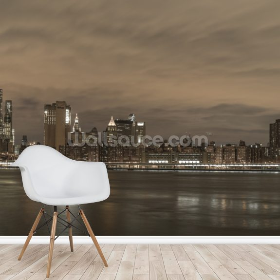 Brooklyn Bridge and Manhattan Bridge over East River wall mural room setting