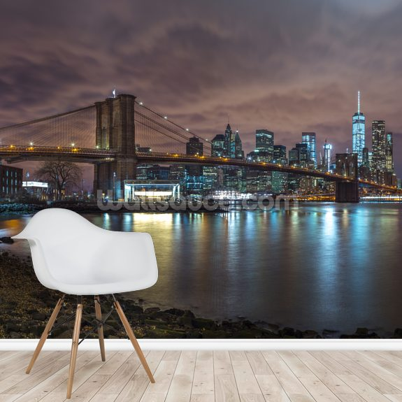 Brooklyn Bridge and Manhattan Skyline With Reflections wallpaper mural room setting
