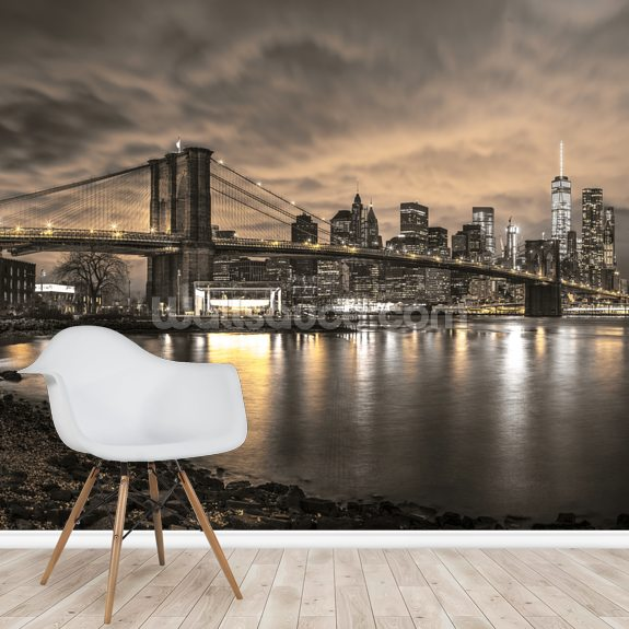 Brooklyn Bridge and Manhattan Dramatic Skyline mural wallpaper room setting