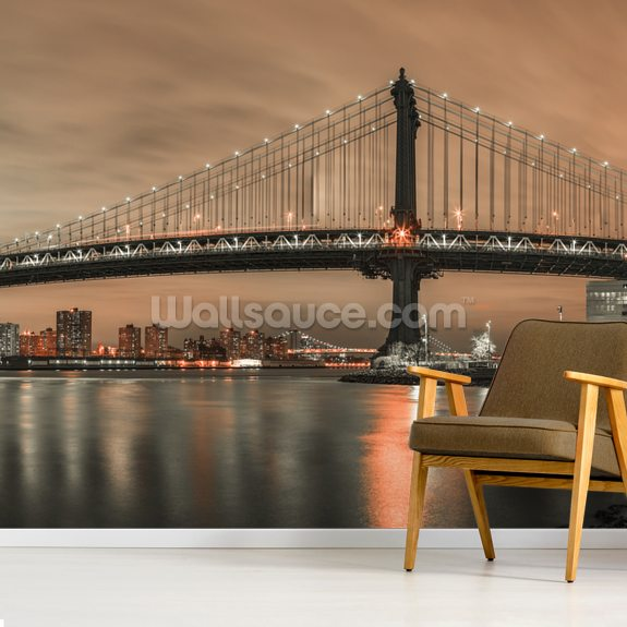 Manhattan Bridge and New York City Orange Skyline wall mural room setting