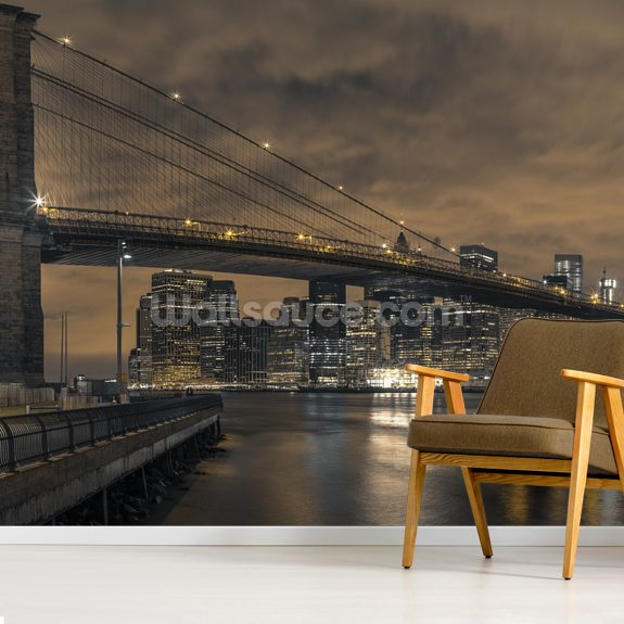 Brooklyn bridge over East River at Dusk wallpaper mural room setting