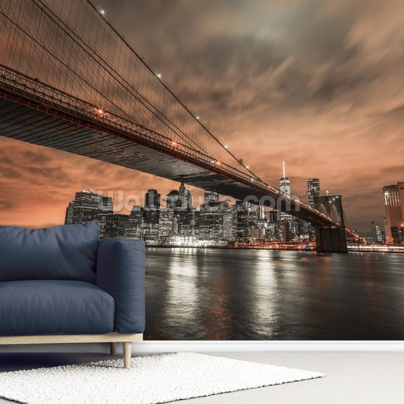 Brooklyn Bridge Moody Orange Sky wall mural room setting