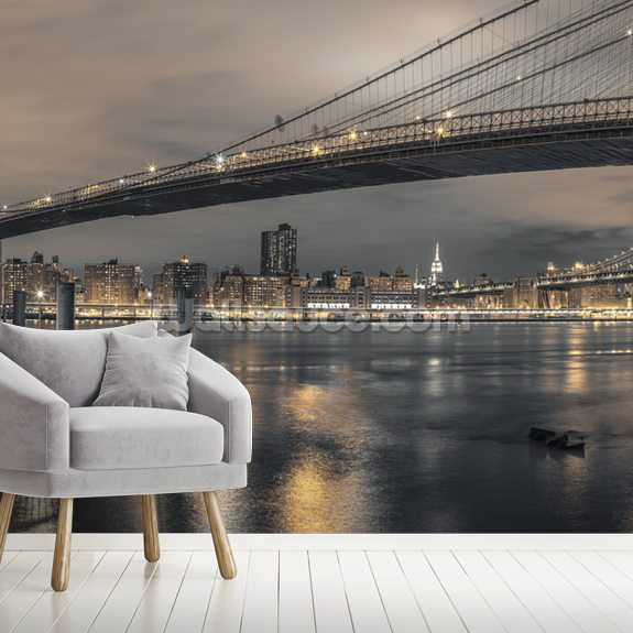 Brooklyn Bridge Long Shot wallpaper mural room setting
