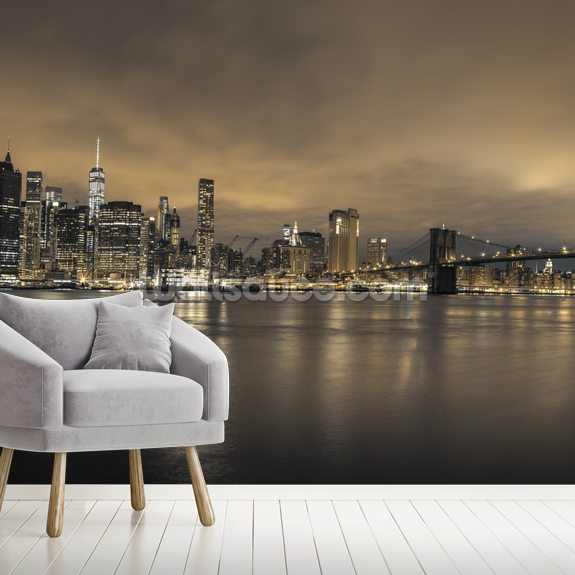 Moody Lower Manhattan Skyline mural wallpaper room setting