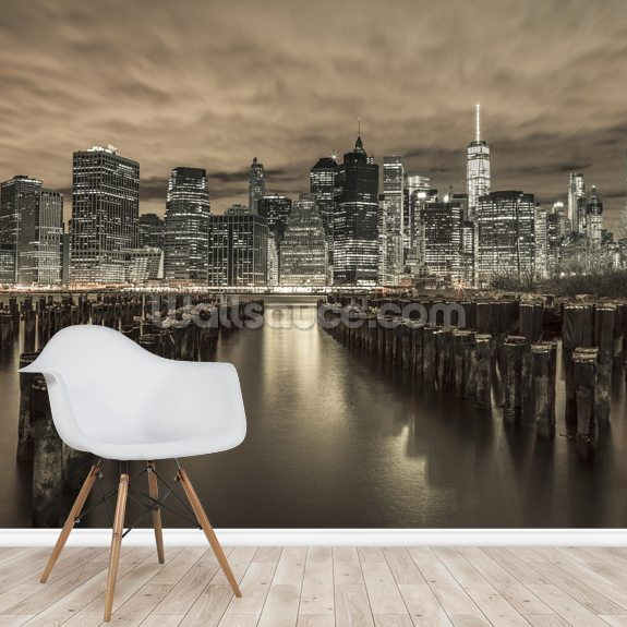 Manhattan Skyline with Rows of Groynes wallpaper mural room setting