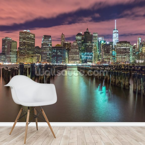Illuminated Manhattan Skyline mural wallpaper room setting