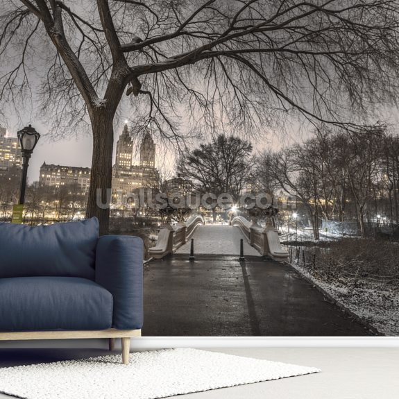 Evening view of Central Park, New York wallpaper mural room setting