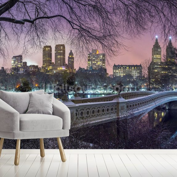 Central Park with Manhattan Skyline Lights mural wallpaper room setting