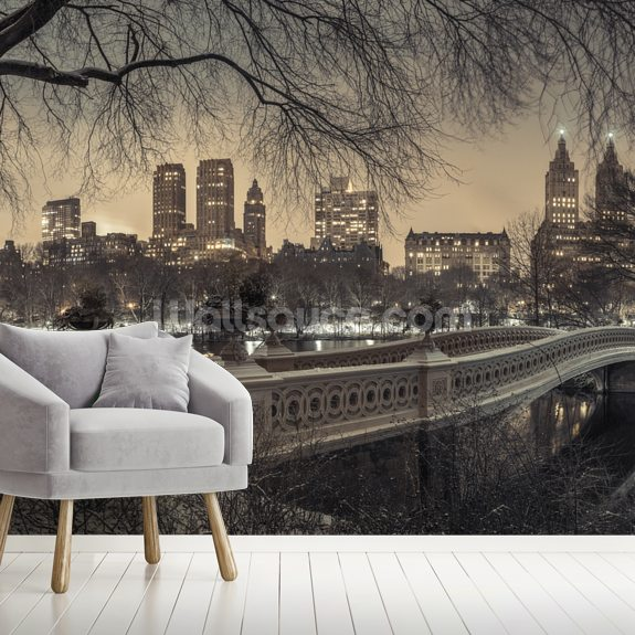 Central Park with Manhattan Moody Lights wall mural room setting