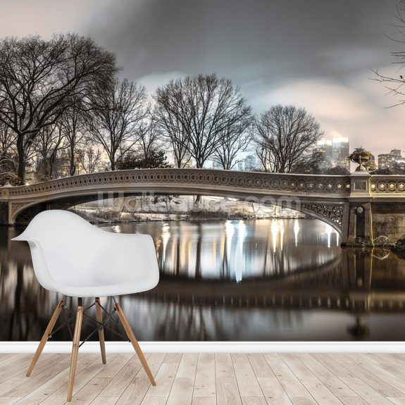 Bow Bridge over Turtle Pond mural wallpaper room setting