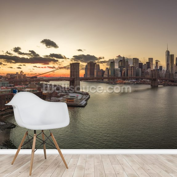 Beautiful New York Sunset wallpaper mural room setting
