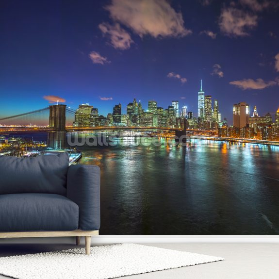 Colourful New York Night wallpaper mural room setting