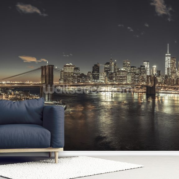 Evening Lights in New York mural wallpaper room setting