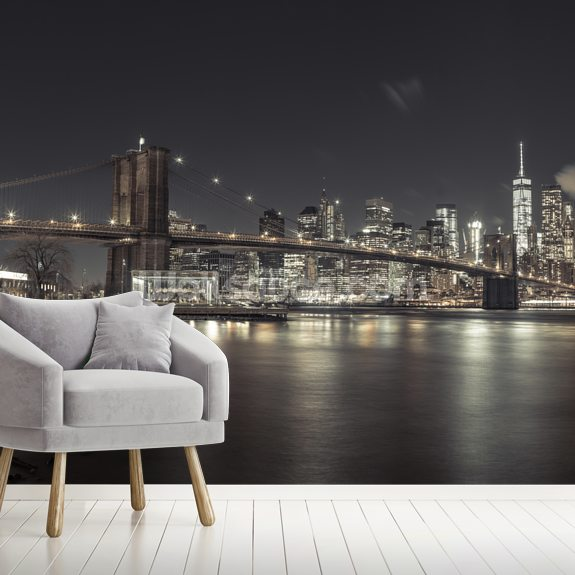 Clear Skies New York Night wall mural room setting