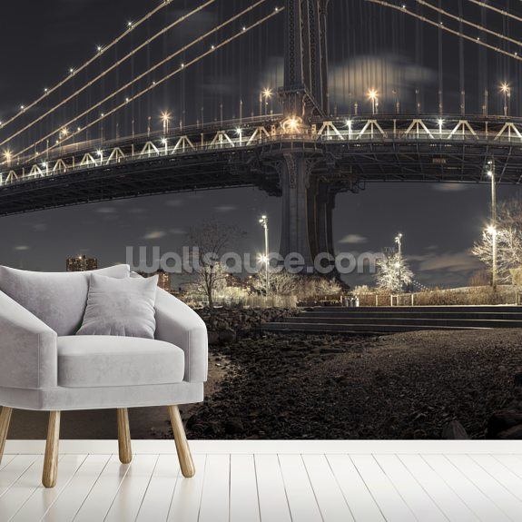 Manhattan Bridge from the Bay mural wallpaper room setting