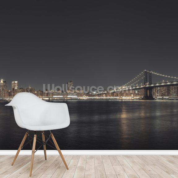 Panoramic New York Wide Angle Night wall mural room setting