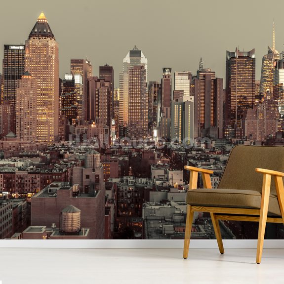 Lower Manhattan Cityscape wall mural room setting