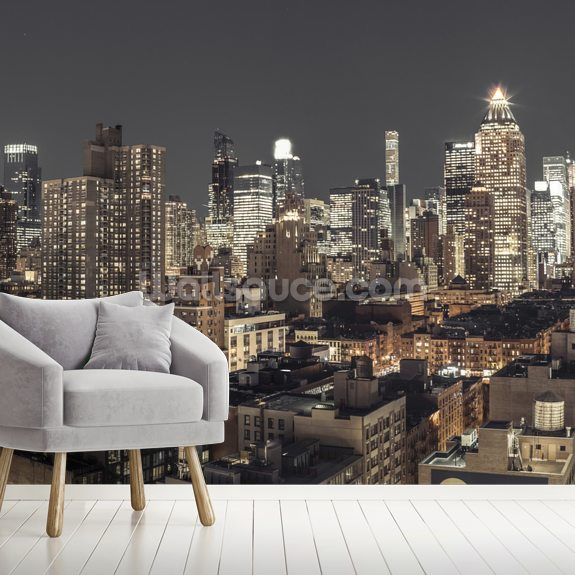 Bright Night in New York mural wallpaper room setting