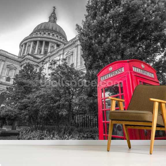 Telephone Booth outside St Pauls Cathedral wallpaper mural room setting