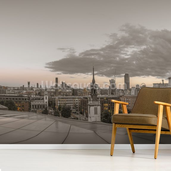 St Pauls Cathedral Dusk Panoramic mural wallpaper room setting