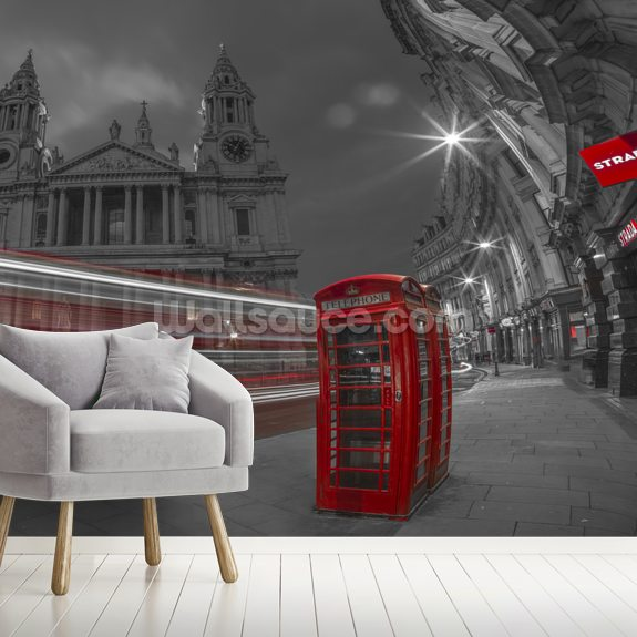 London Telephone Booth Colour Splash mural wallpaper room setting