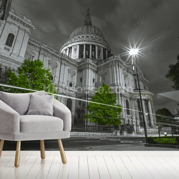 St Pauls Cathedral Green Colour Splash wall mural room setting