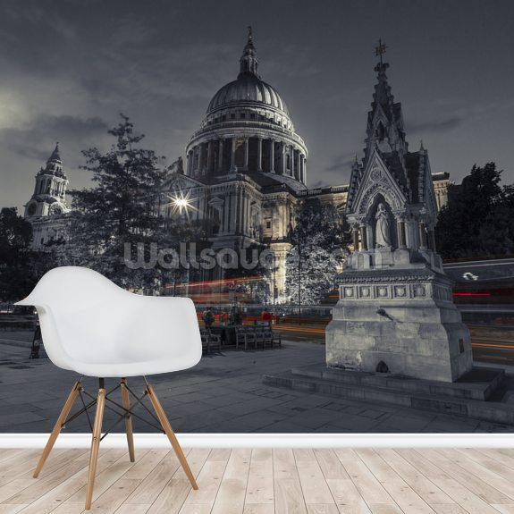Moody St Pauls Cathedral at Night mural wallpaper room setting