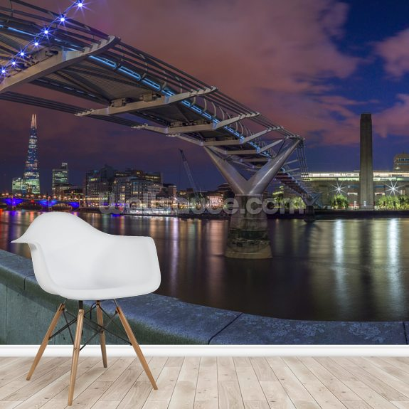 Illuminated Millenium Bridge London wall mural room setting