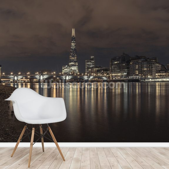 London City Reflections wallpaper mural room setting