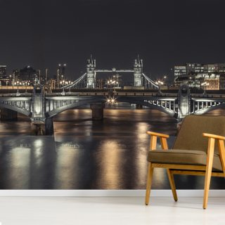 Tower Bridge London Night Panoramic