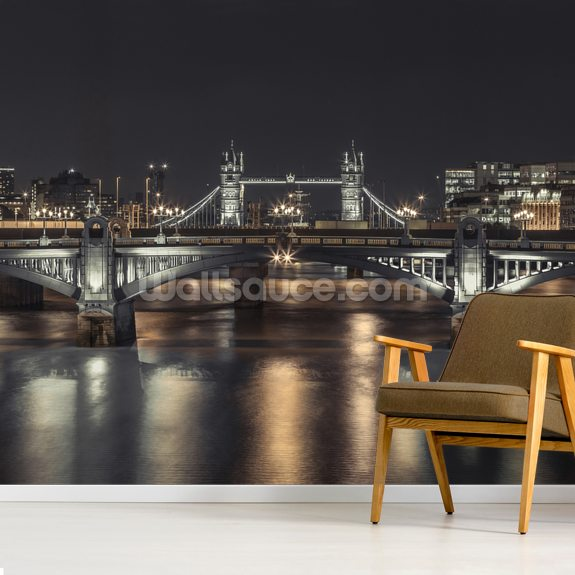Tower Bridge London Night Panoramic wall mural room setting