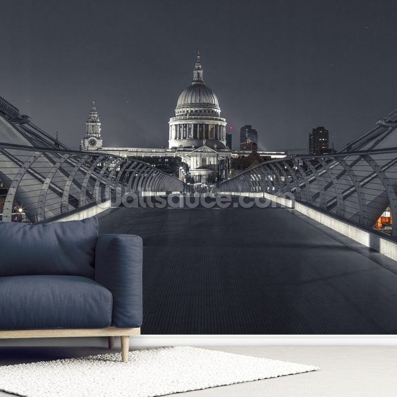 Millenium Bridge Walk to St Pauls Cathedral wallpaper mural room setting
