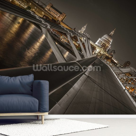 Dramatic View of St Pauls Cathedral mural wallpaper room setting