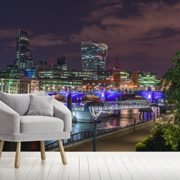 Thames Promenade in Evening wall mural room setting