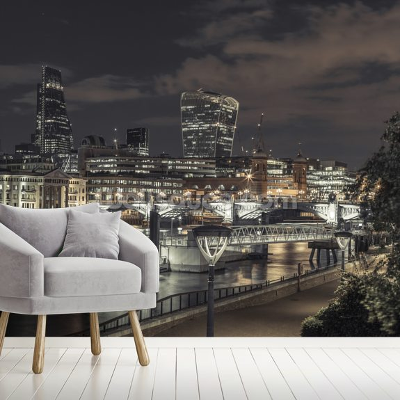 Thames Promenade Moody Night wallpaper mural room setting