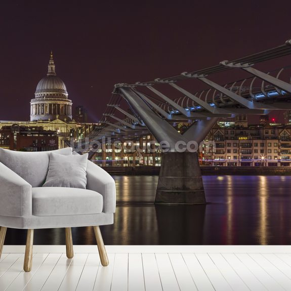 Evening View of Millennium Bridge mural wallpaper room setting