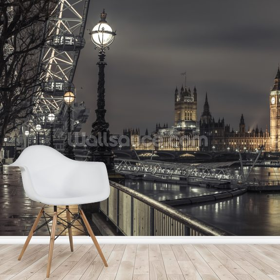 Westminster across the Thames River wallpaper mural room setting