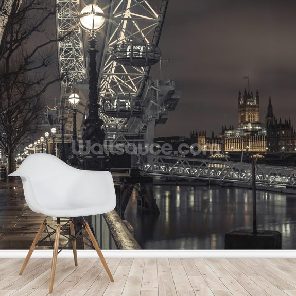 Thames Promenade with Westminster mural wallpaper room setting