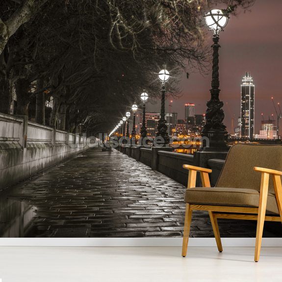 Thames Promenade at Night wall mural room setting