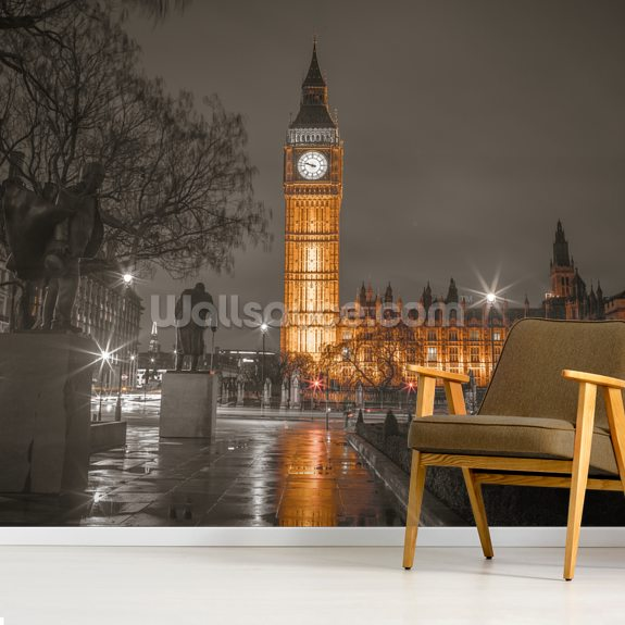 Big Ben in the Evening wallpaper mural room setting