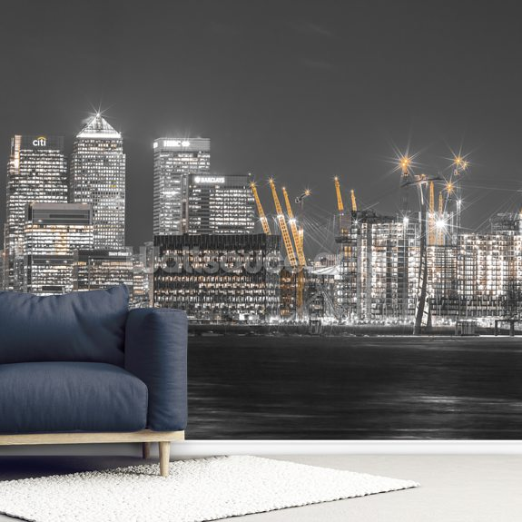 London Cityscape across the Thames mural wallpaper room setting