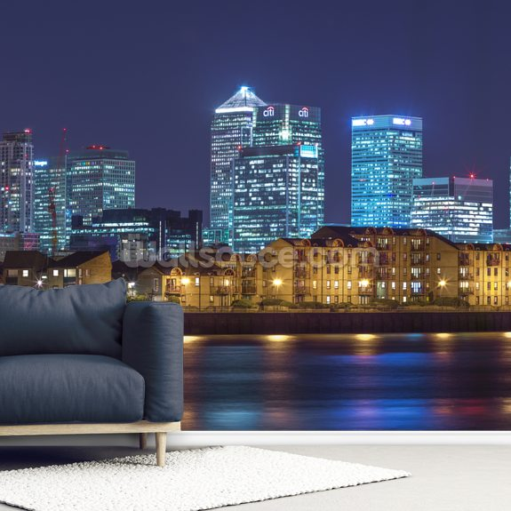 Illuminated London Skyline at Night wall mural room setting
