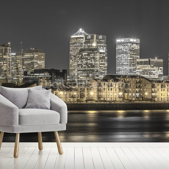 Yellow Lights London Skyline wallpaper mural room setting