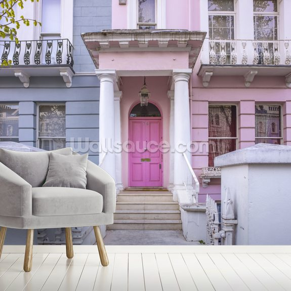 Notting Hill Colourful House mural wallpaper room setting