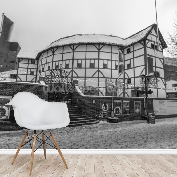 Globe Theatre During Wintertime wall mural room setting