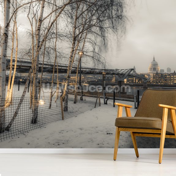 St Paul's Cathedral and Millennium Bridge in Snow wallpaper mural room setting