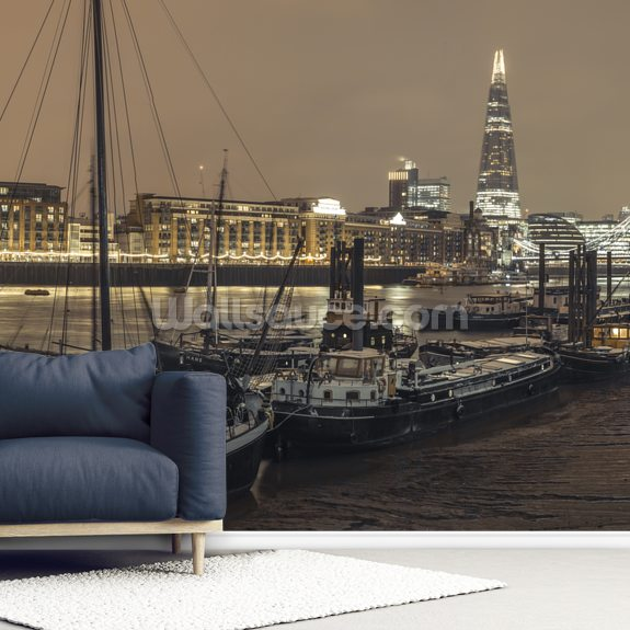 London Skyline during Wintertime wallpaper mural room setting
