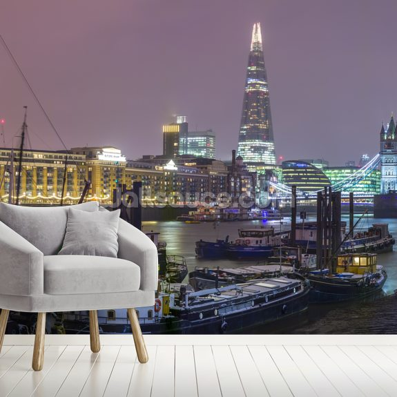 London Skyline Winter Panoramic mural wallpaper room setting